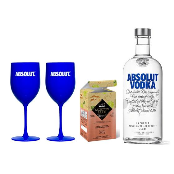 Kit-Vodka-Absolut-Regular-750ml---Preparo-para-Moscow-Mule-Easy-drinks---2-Tacas-de-Plastico-Absolut
